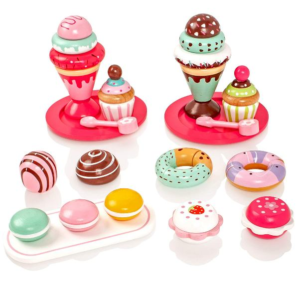 helados y pasteles de madera