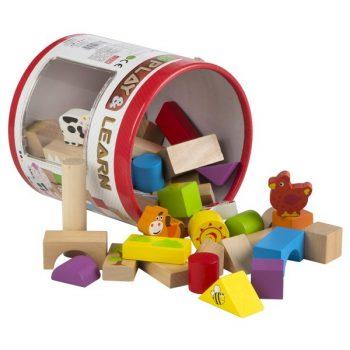 cubo de 50 bloques de madera natural