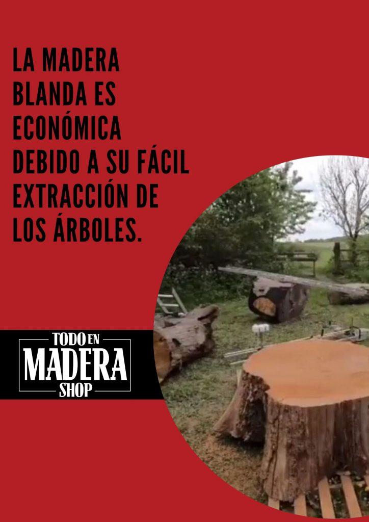la madera blanda se extrae facilmente
