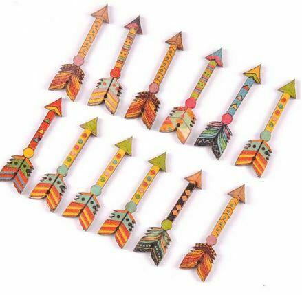 piezas-mezcladas-flechas-con-forma-de-madera-artesania